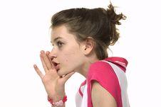 Girl Telling Gossip Emotion Stock Photo