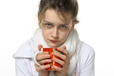 Free Ill Girl With Cup Royalty Free Stock Images - 14792189