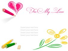 Free Pencil Draw Heart And Flower Royalty Free Stock Image - 14792726