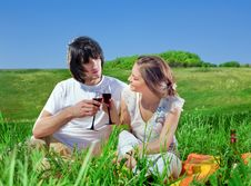 Boy And Beautiful Girl With Wineglasses Stock Image