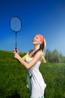 Free Girl In White Dress With Racket Royalty Free Stock Photos - 14795448