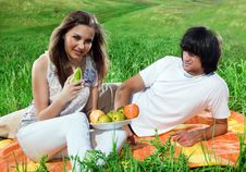 Free Long-haired Girl With Fruits And Boy Royalty Free Stock Images - 14795519