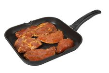 Frying Pan With Meat To The Barbecue Stock Photo