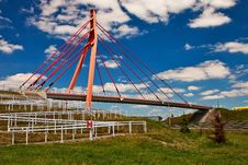 Free Pedestrian Bridge Over Highway. Stock Image - 14796241