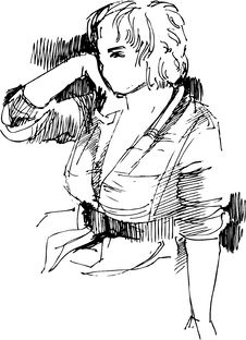 Sketch To The Portrait Of Girl Stock Images