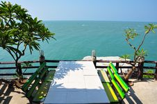 Table With View Of Sea, Thailand Royalty Free Stock Photo