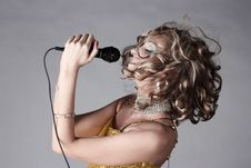 Free Beautiful Girl Holding Microphone. Stock Photos - 14797223