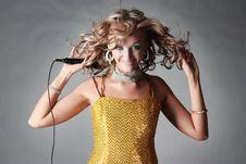 Free Beautiful Girl Holding Microphone. Stock Photo - 14797250
