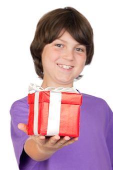 Boy With A Gift With Focus On The Hand -DOF- Royalty Free Stock Image