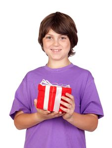 Free Boy With A Gift Royalty Free Stock Photo - 14798865