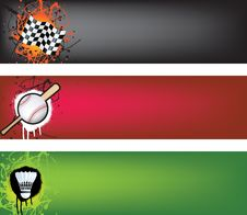 Free Motor Racing, Baseball And Badminton Banner Set Stock Photos - 14799393