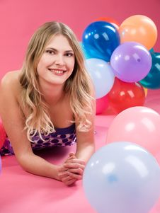 Free Woman With Balloons Stock Images - 14799764