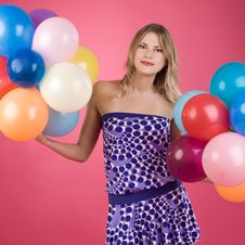 Free Woman With Balloons Stock Photo - 14799780