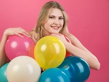 Free Woman With Balloons Stock Image - 14799791