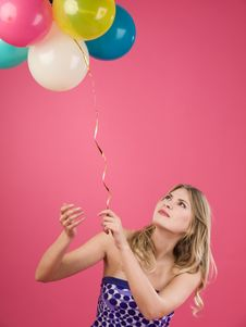 Free Woman With Balloons Royalty Free Stock Photo - 14799805
