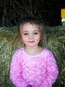 Free Girl On Hay Stock Images - 1482874
