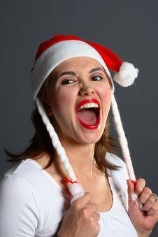 Free Santa Girl Yelling Royalty Free Stock Photography - 1483287