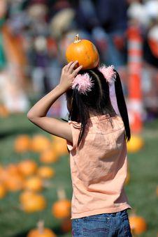 Free Pumpkin And Girl Stock Photo - 1483690
