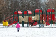 Free Girl And Playground At Winter Royalty Free Stock Image - 1484006