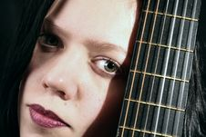 Free Young Woman With Guitar Stock Image - 1484131
