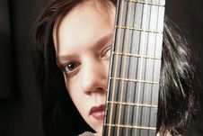 Free Young Woman With Guitar 2 Stock Image - 1484161