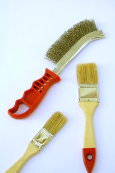 Two Painting Brushes And Metal Brush Royalty Free Stock Photo