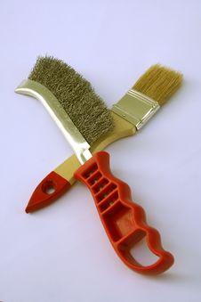 Free Painting Brush And Metal Brush Royalty Free Stock Photo - 1484305