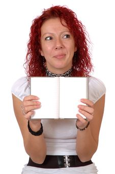 Quizzical Woman With Notebook