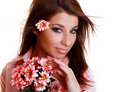 Free Young Beautiful Woman With Pink Flower Stock Image - 14808691