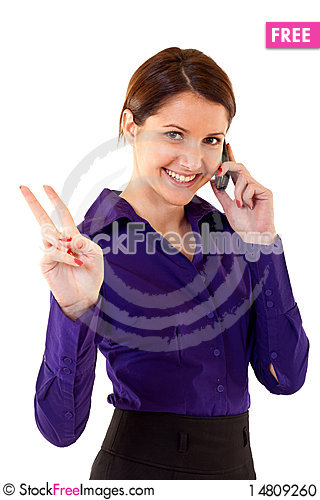 Free Victory On The Phone Stock Photo - 14809260