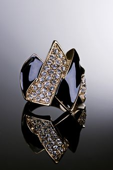 Gold Ring With Crystals. Royalty Free Stock Image