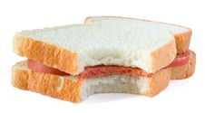 Free Sandwich With Sausage On White Background Royalty Free Stock Photo - 14800715