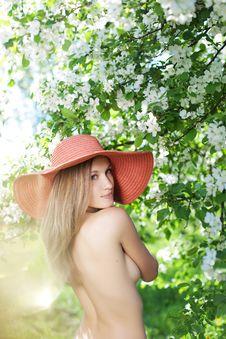 Beautiful Half-naked Woman Among Flowering Gardens Stock Photos