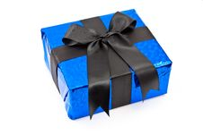 Free Gift Box With Black Bow Stock Image - 14801391