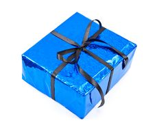 Free Gift Box With Black Bow Stock Photography - 14801432