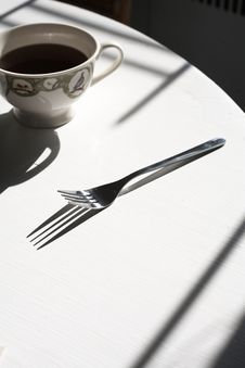 Free Kitchen Table, Coffee And Fork Stock Photo - 14801610