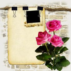 Grunge Paper On Old Rope With Roses Stock Images