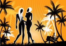 Summer Backgraund With Womens Silhouette Royalty Free Stock Photo