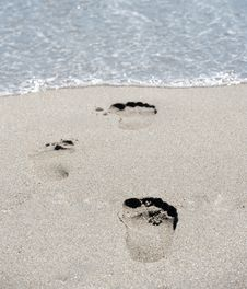 Free Footprints At Beach Royalty Free Stock Photo - 14803405