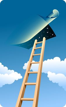 Free Ladder To Sky (night) Royalty Free Stock Photo - 14803915