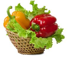 Sweet Pepper In A Basket Stock Photography