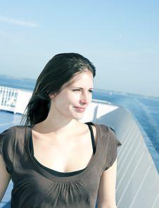 Happy Woman On Cruise Ship Stock Image