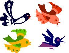 Free Colorful Birds Set,  Illustration Stock Photo - 14805500