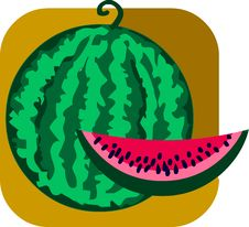 Free Sweet Watermelon And Slice On Brown Background Stock Photography - 14805502