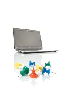 Several Thumbtacks And Laptop Stock Photos