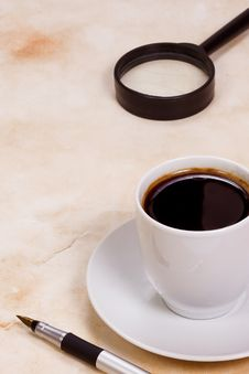 Free Coffee At Paper Texture Stock Photos - 14806063