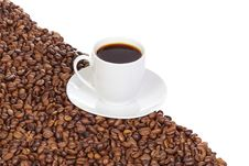 Free Cup Of Coffee And Saucer At Beans Stock Photo - 14806150