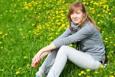 Free The Girl Sits On A Grass Royalty Free Stock Images - 14808499