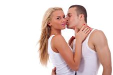 Free Man Kissing Woman Royalty Free Stock Image - 14808616