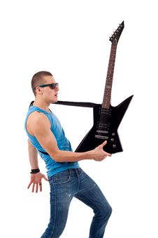 Free Guitarist Holding His Guitar In One Hand Stock Photography - 14808832